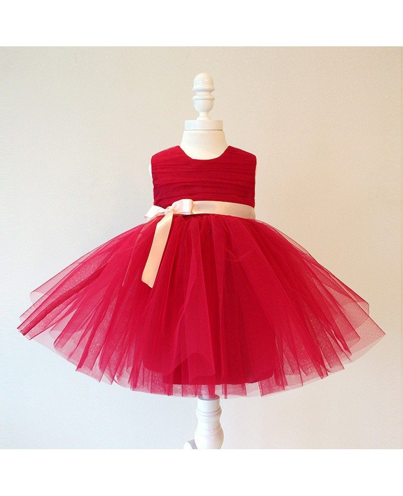 Burgundy Short Tutu Flower Girl Dress With Sash Pageant Gown For ...