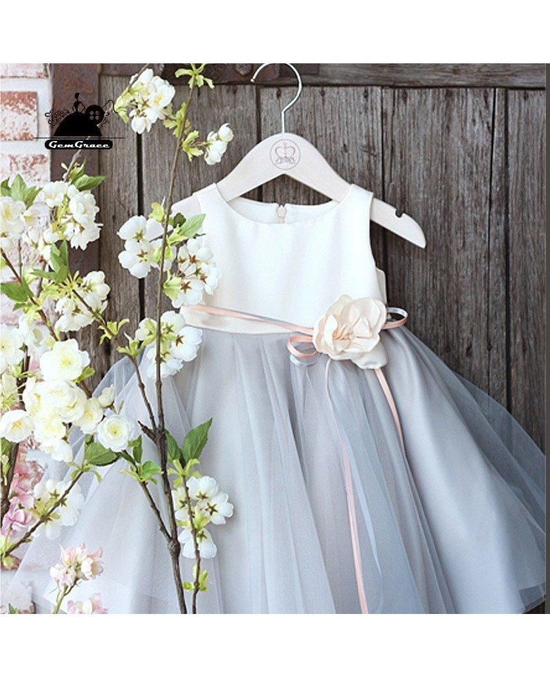 Elegant grey tulle flower girl dress country weddings pageant gown mightylinksfo