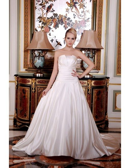 Ball-Gown Strapless Cathedral Train Satin Wedding Dress With Ruffle ...