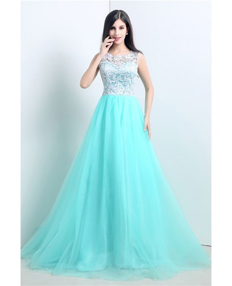 Graceful Ballroom Aqua Prom Dress Long With White Lace Bodice ...