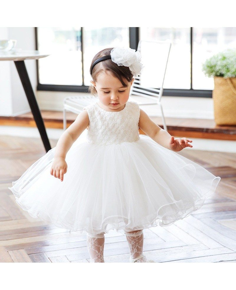 Girls Wedding Gown: Super Cute White Girls Wedding Dress Toddler Pageant Gown