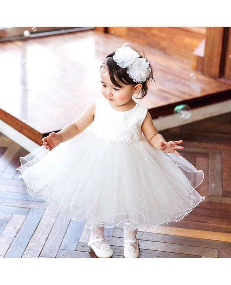 Super cute white girls wedding dress toddler pageant gown for Cute white dresses for wedding