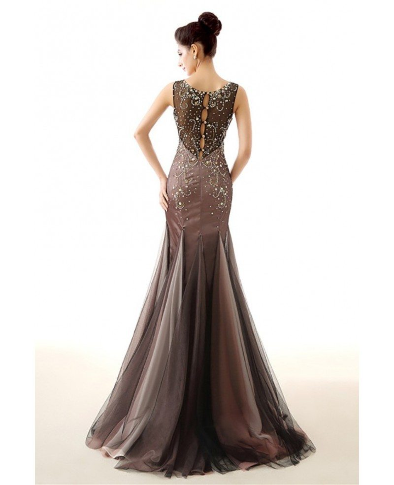 Unique Brown Fitted Prom Dress Sleeveness With Sparkly ...