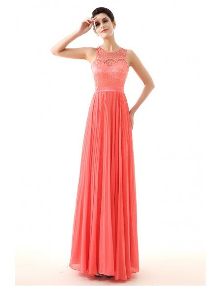 Flowy Chiffon A Line Watermelon Prom Dress With Lace Top #H76090 ...
