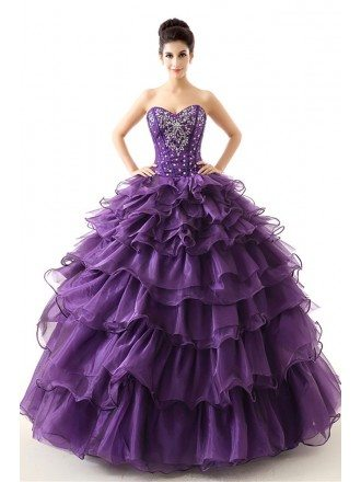 Cheap Red Ball Gown Formal Dress Tiered With Beading For Teens