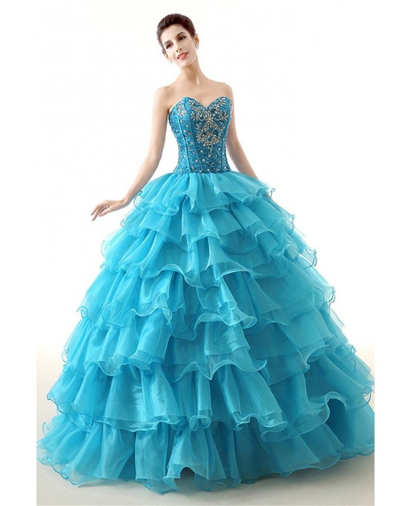 Cheap Red Ball Gown Formal Dress Tiered With Beading For Teens ...