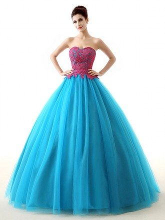 Blue Ballgown Long Tulle Two-Tone Colored Formal Dress
