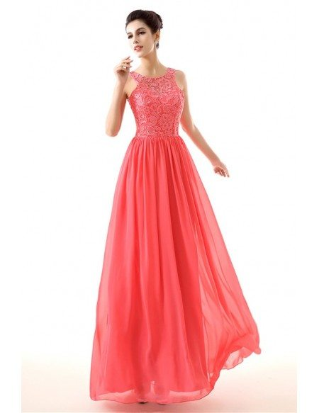 Flowing Chiffon A Line Formal Dress Watermelon With Lace Top H76095