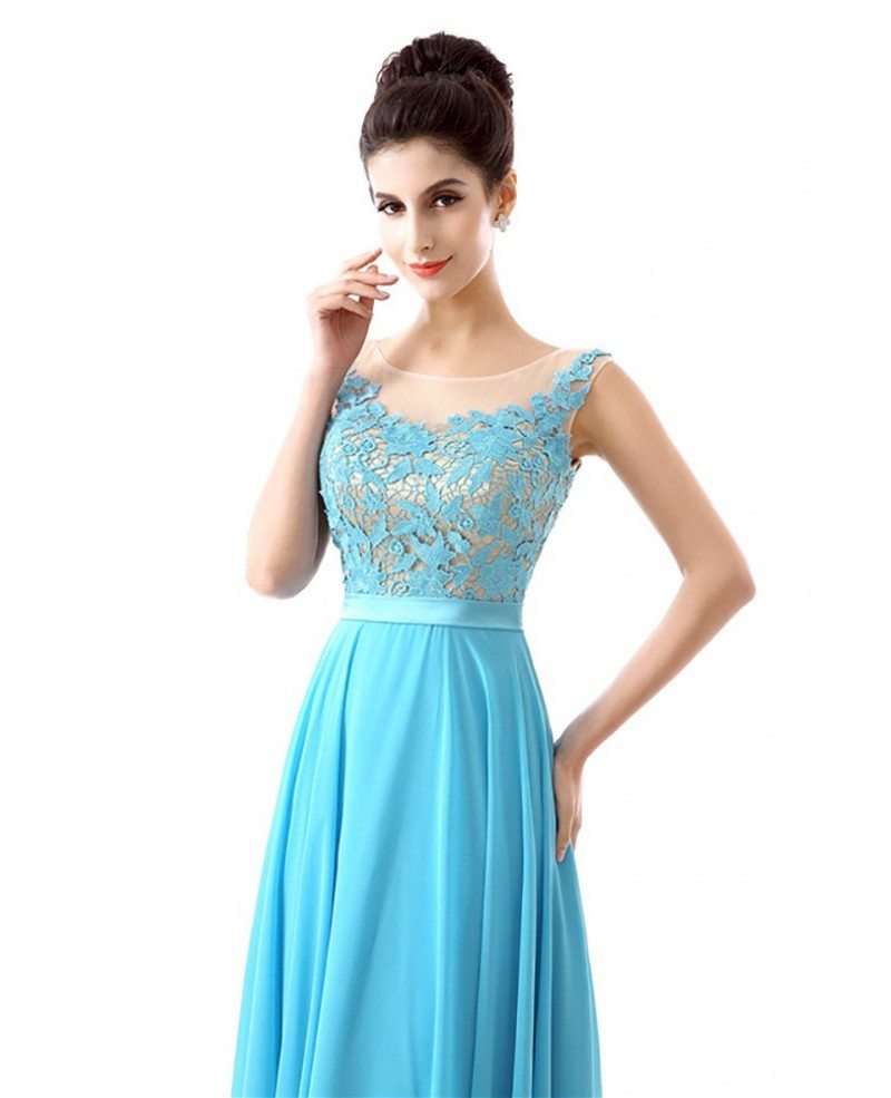 2018 Aqua Chiffon Prom Dress A Line Long With Lace Bodice #H76096 ...