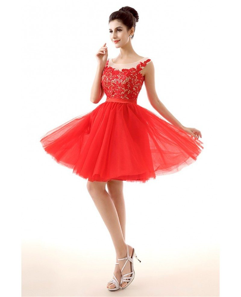 Unique Short Red Homecoming Prom Dress With Lace Beading