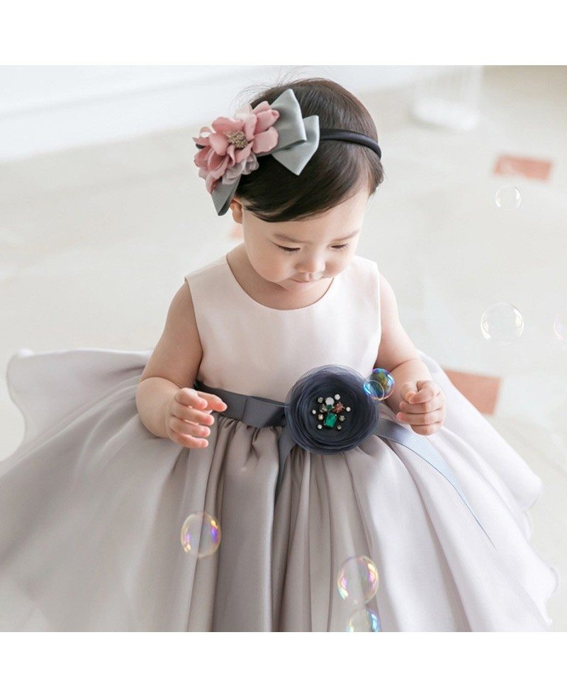 Light Grey Organza Baby Flower Girl Dress Toddler Formal Dress