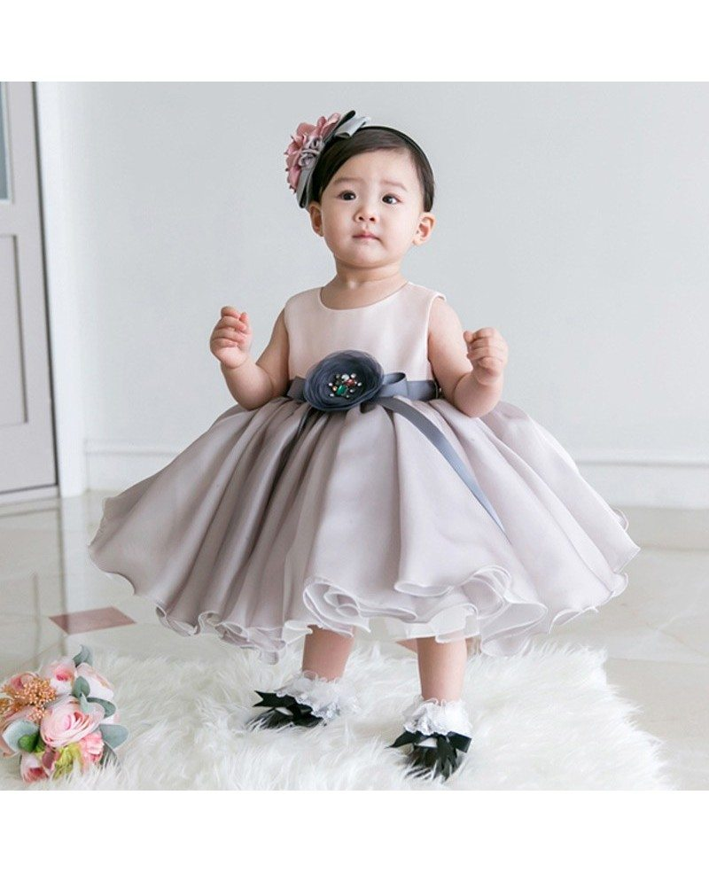 Light grey organza baby flower girl dress toddler formal dress light grey organza baby flower girl dress toddler formal dress ombrellifo Choice Image