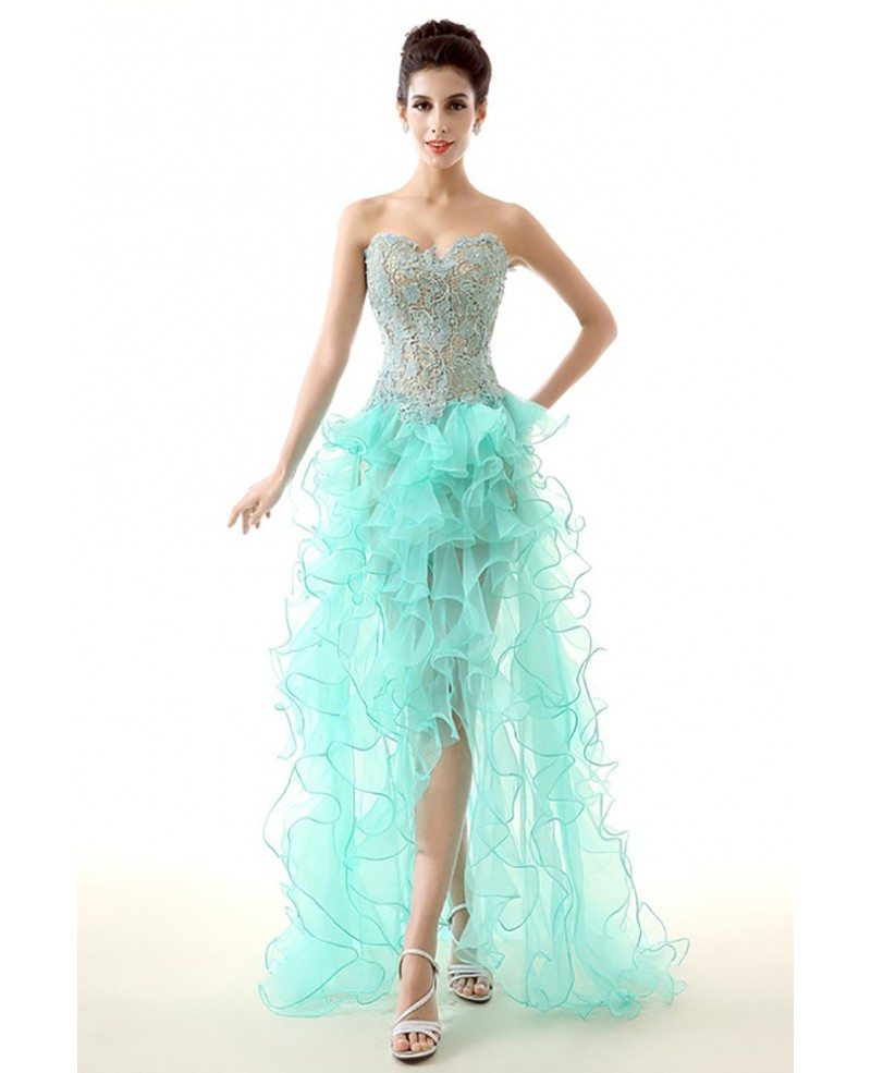Unique High Low Ruffled Teal Prom Dress Sexy With Lace Bodice ...
