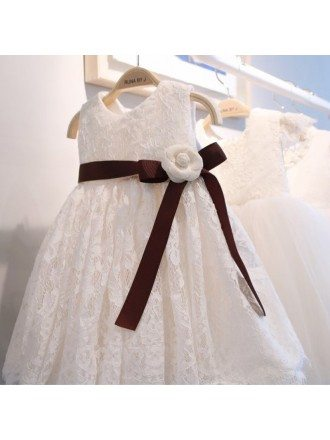 White Lace Classic Flower Girl Dress With Burgundy Sash For Formal
