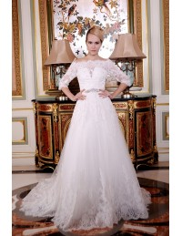 A-Line Off-the-Shoulder Court Train Tulle Wedding Dress With Beading Appliques Lace