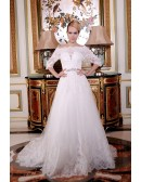 A-Line Off-the-Shoulder Court Train Tulle Wedding Dress With Beading Appliquer Lace