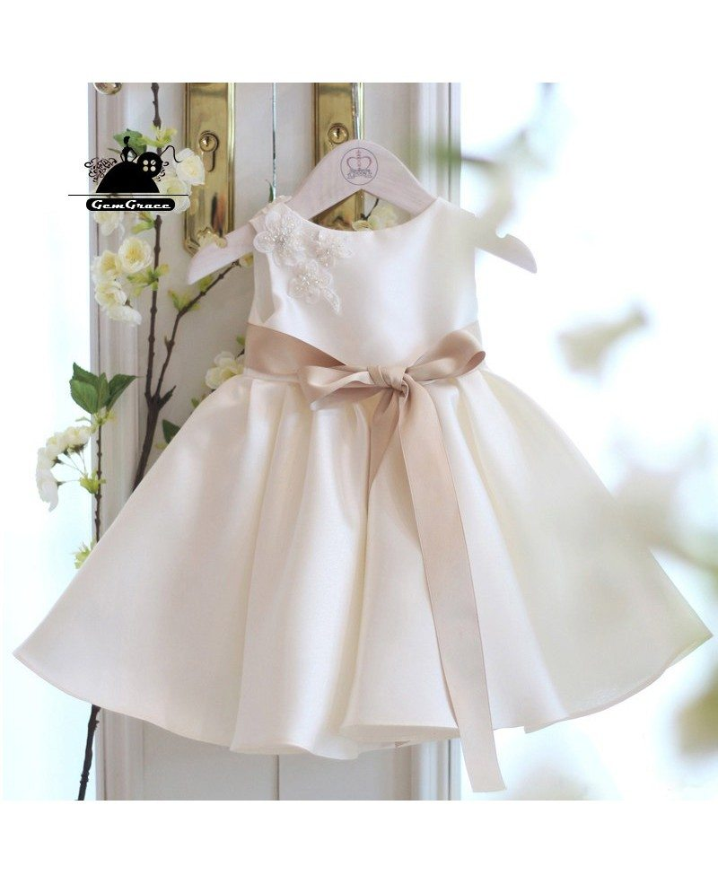 Simple Ivory Satin Flower Girl Dress With Sash Summer ...