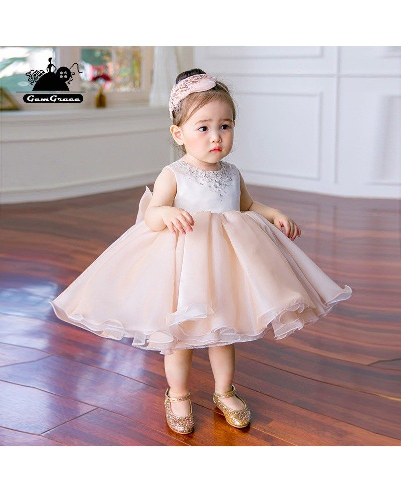 Couture Blush Pink Puffy Flower Girl Dress Sleeveless For Toddler