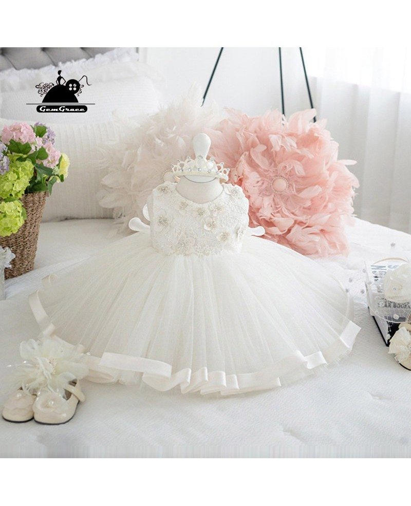 White Princess Ballgown Flower Girl Wedding Dress Couture Pageant ...