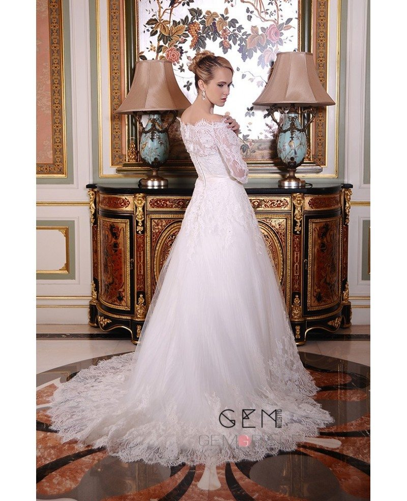 A line off the shoulder court train tulle wedding dress for A line tulle wedding dress