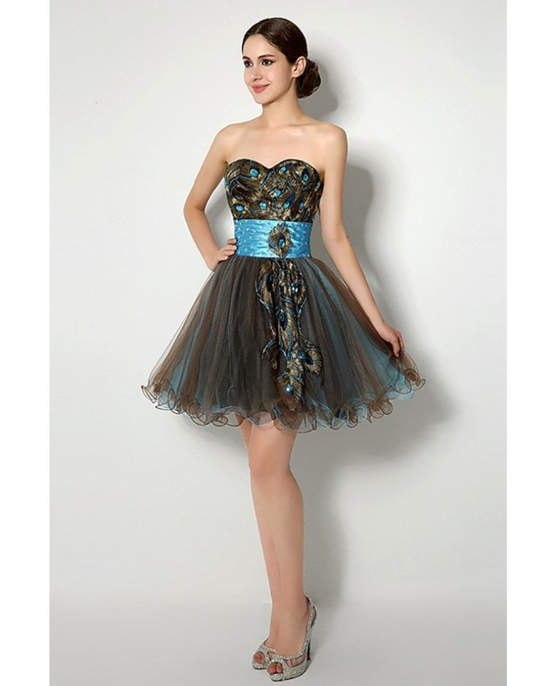 Unique Brown Aqua Hot Prom Dress Embroideried For ...