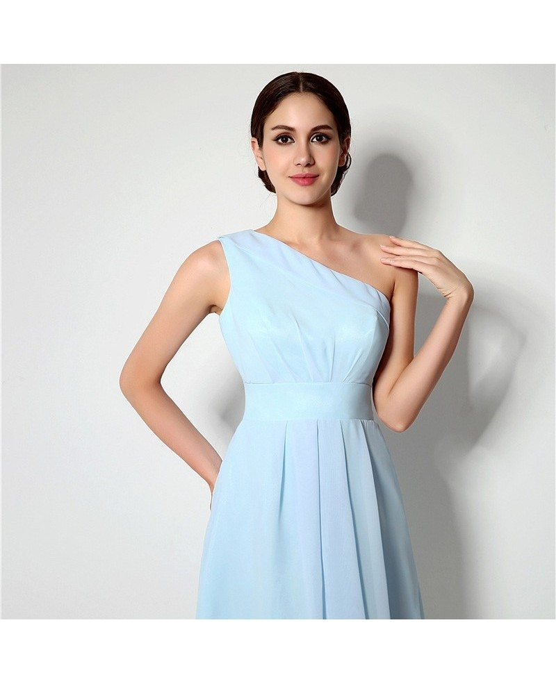 Simple one shoulder short bridesmaid dress light sky blue for One shoulder short wedding dress