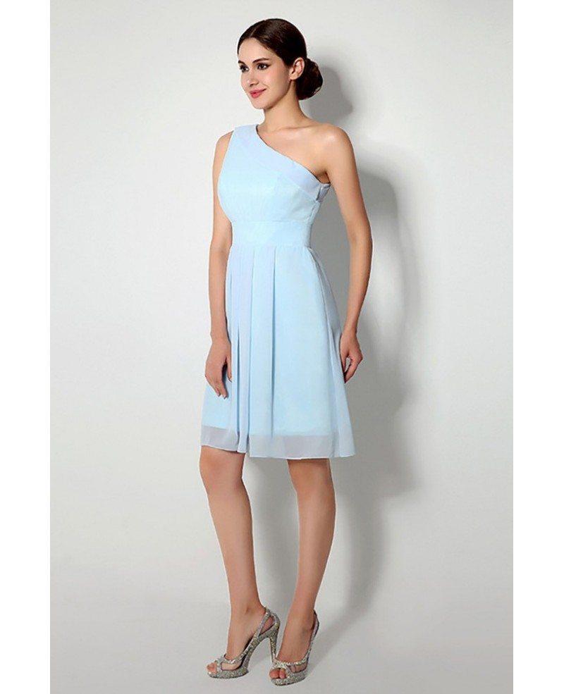 Simple One Shoulder Short Bridesmaid Dress Light Sky Blue #H76103 ...
