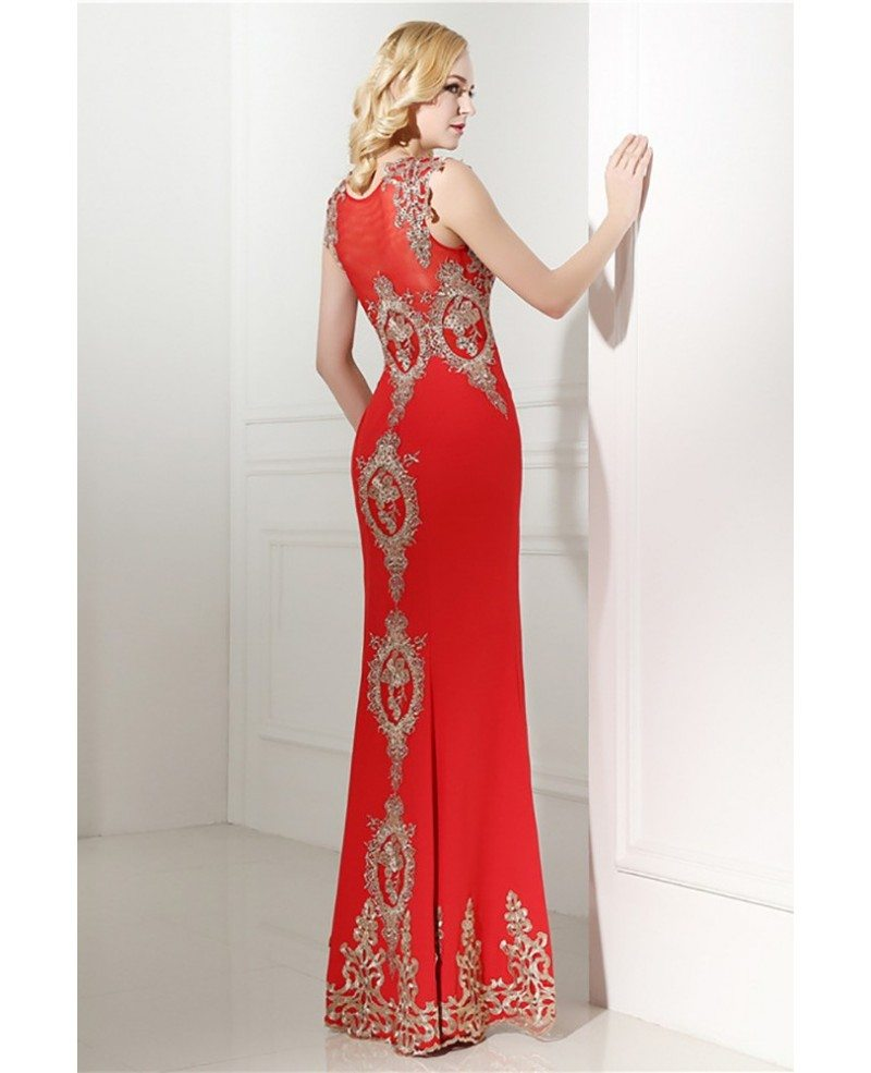 2018 Bodycon Red Formal Dress Long With Applique Lace