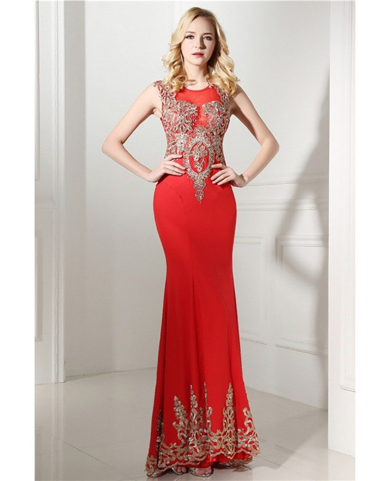 2018 Bodycon Red Formal Dress Long With Applique Lace #H76107 - GemGrace.com