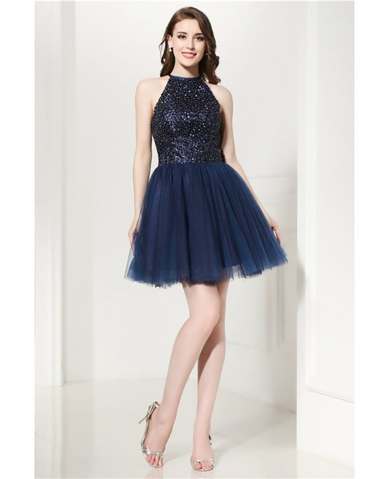 Grey Cocktail Halter Prom Dress With Beading Top For Homecoming ...
