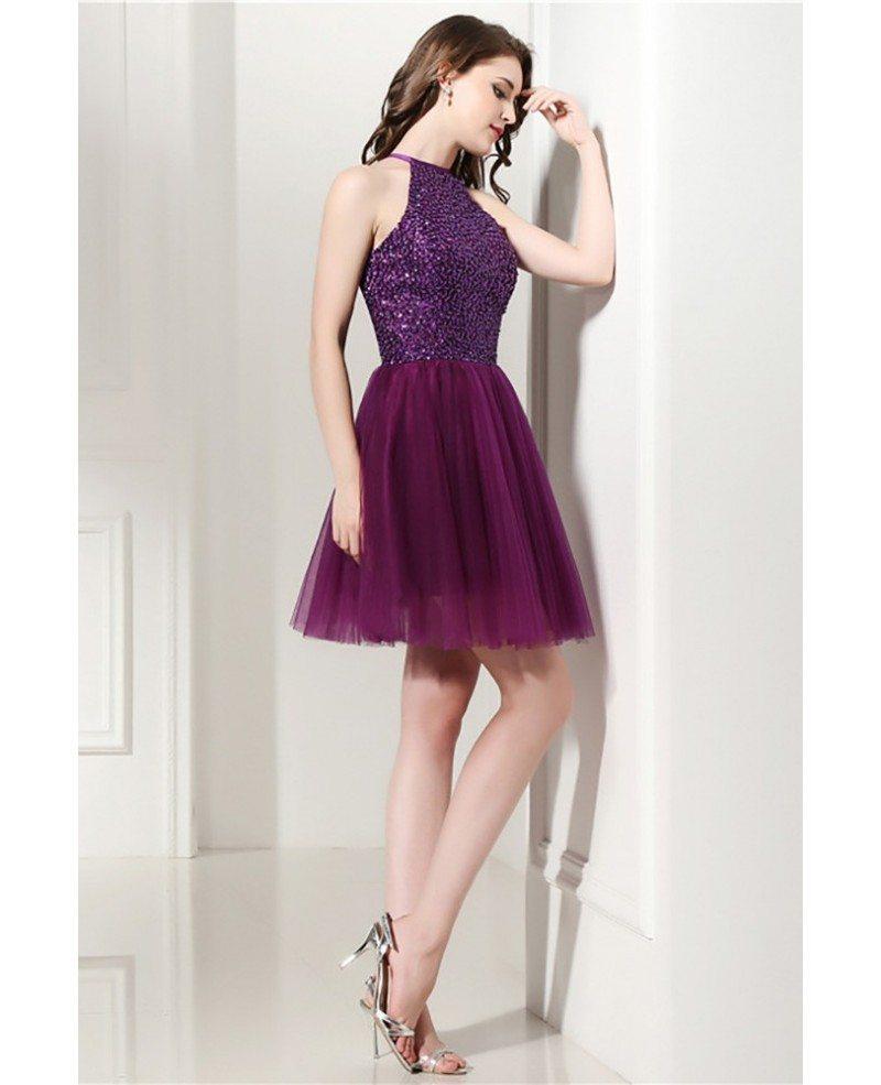 Long Chiffon Lace-Bodice Halter Prom Dress - PromGirl  |Halter Cocktail Dresses