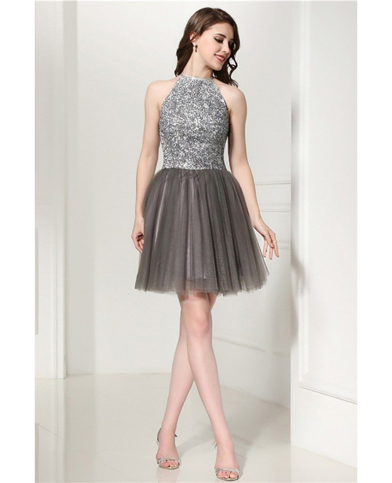 Grey Cocktail Halter Prom Dress With Beading Top For