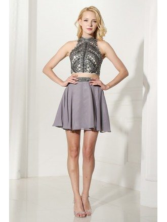 Unique 2 Piece Grey Prom Dress Halter With Crystal Crop Top