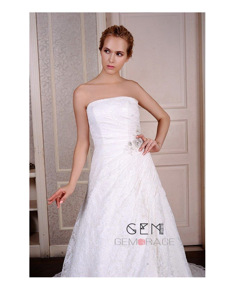 Ball gown strapless chapel train lace wedding dress with for Wedding dresses chapel train