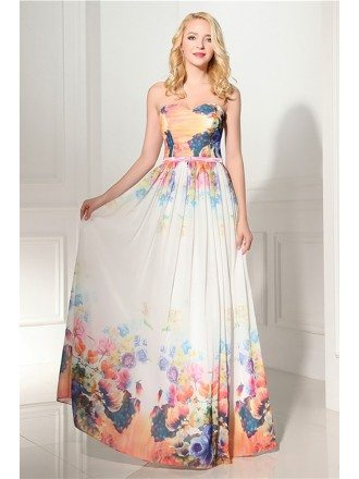 Unique Floral Printed Formal Dress Long Cheap For Women 2018