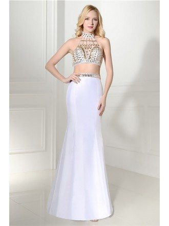 Unique 2 Piece White Semi Formal Dress With Halter Crystal Top