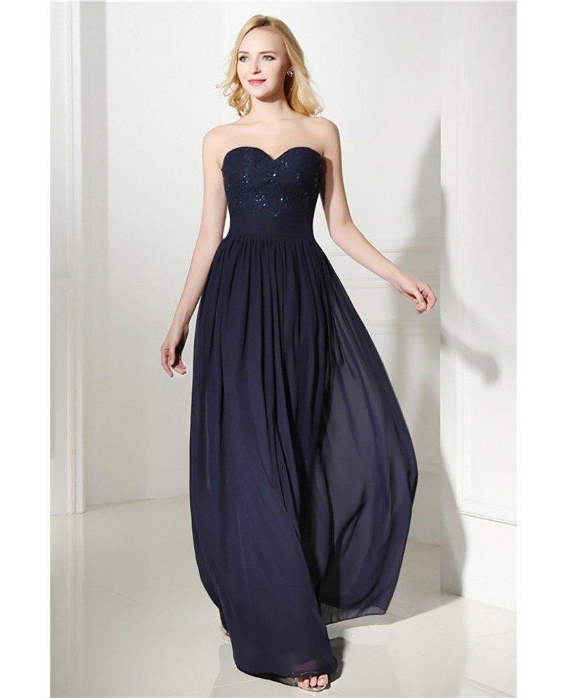 Flowy Chiffon Long Evening Dress Navy Blue With Sweetheart