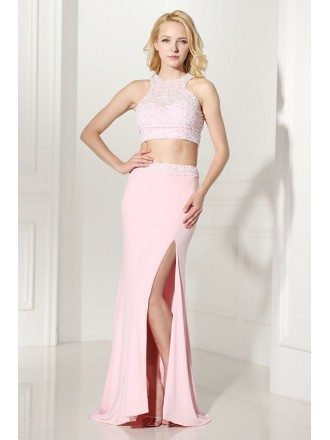 Two Piece Long Slit Evening Dress Pink With Halter Beading Top