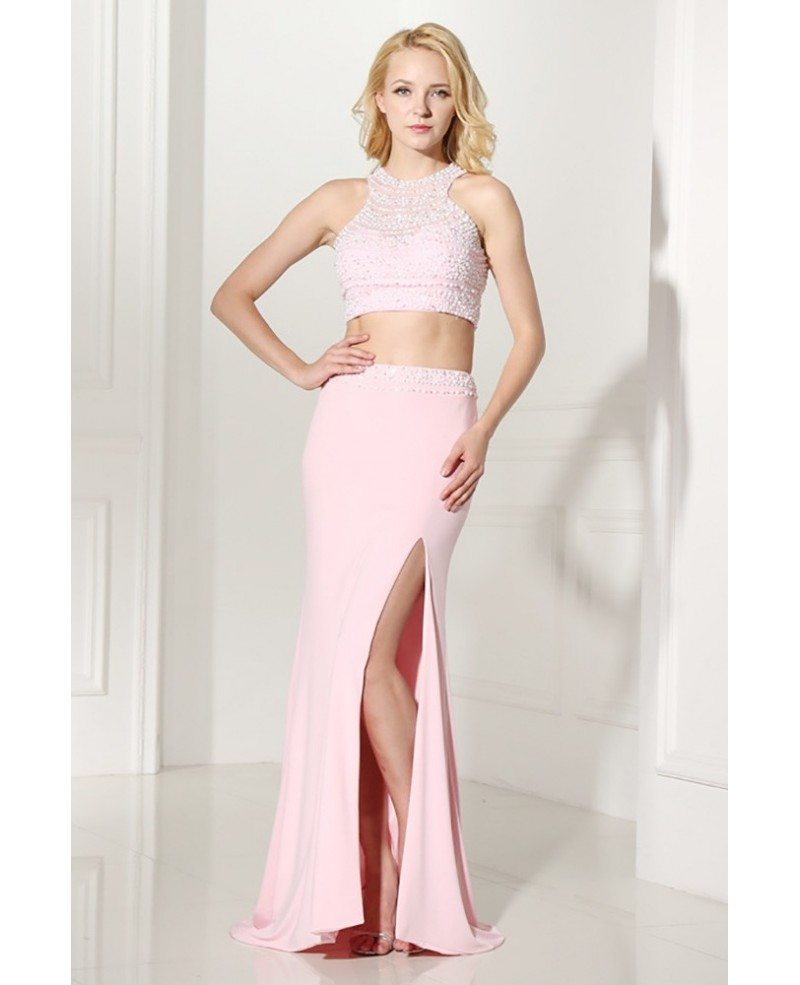 Two Piece Long Slit Evening Dress Pink With Halter Beading Top ...