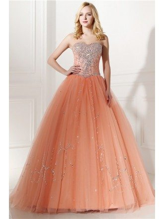 Elegant Coral Beaded Formal Dress Ball Gown For Quinceanera