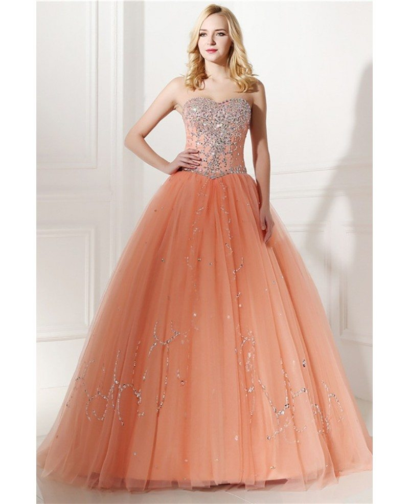 Elegant Coral Beaded Formal Dress Ball Gown For Quinceanera #H76128 ...