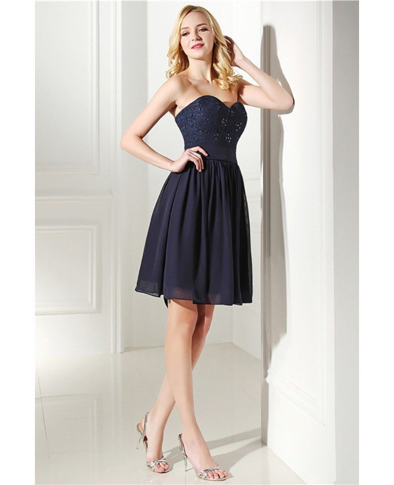 Simple Navy Blue Short Bridesmaid Dress Strapless With Lace #H76131 ...