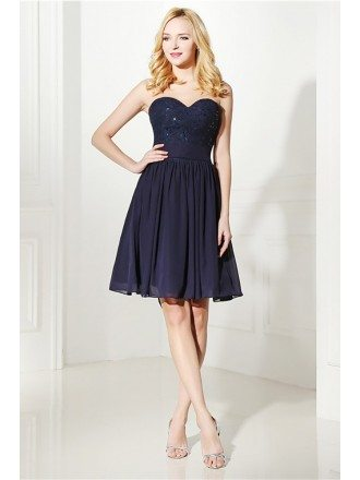 Simple Navy Blue Short Bridesmaid Dress Strapless With Lace
