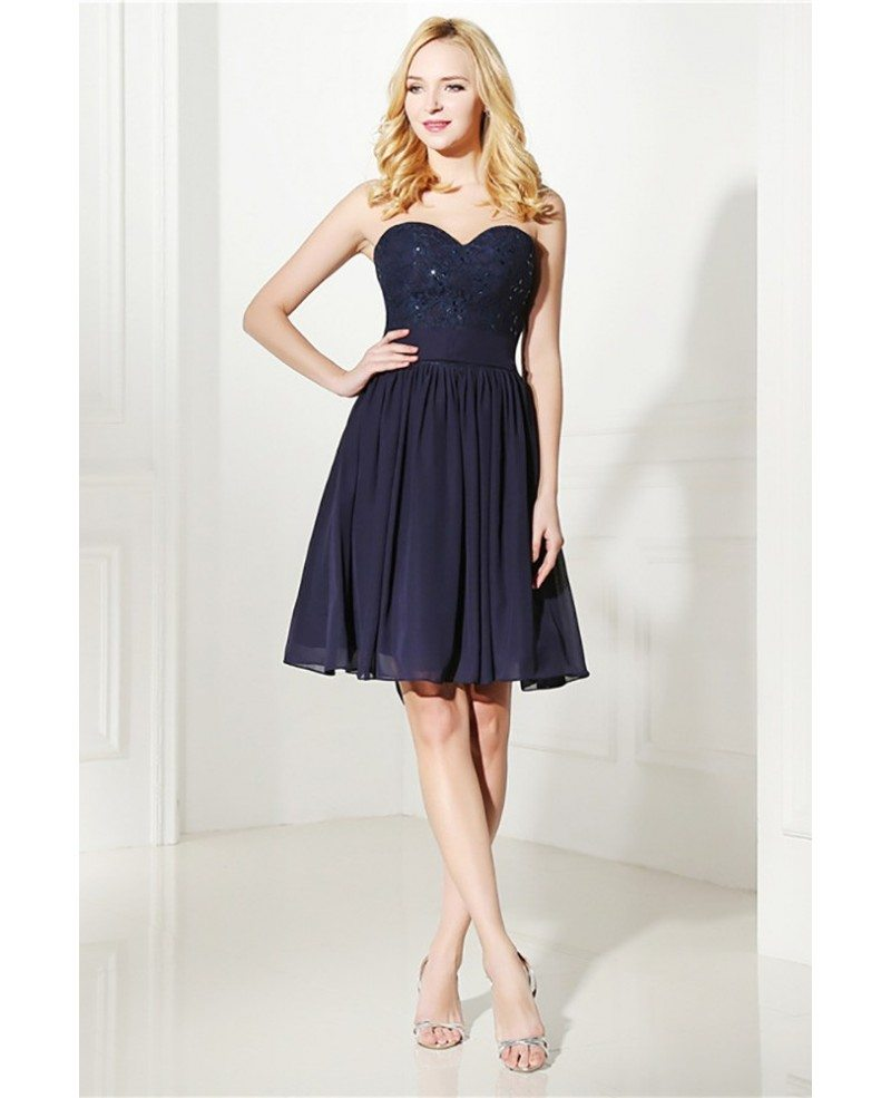 Simple navy blue short bridesmaid dress strapless with for Navy blue dresses for wedding