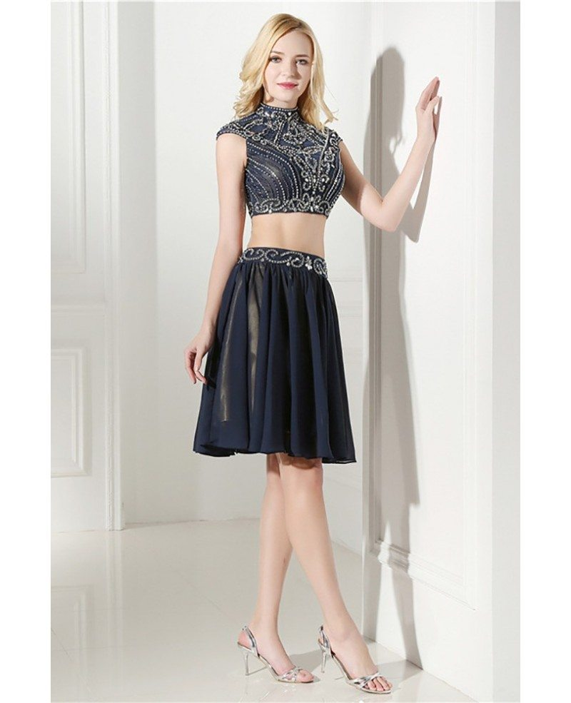 Modest Two Piece Short Prom Dress Navy Blue With Beading Top #H76133 ...