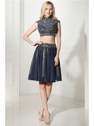 Modest Two Piece Short Prom Dress Navy Blue With Beading Top