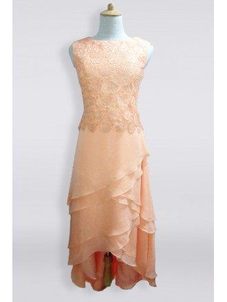 Coral Criss Cross Lace Chiffon High Low Older Brides Mother Bride Formal Dress