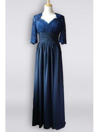 Elegant Navy Blue Lace Half Sleeve Chiffon Long Bridesmaid Dress For Formal
