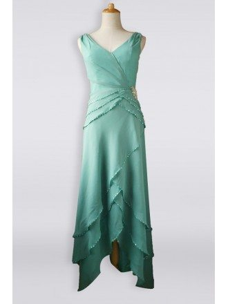 Classy Turquoise Sequined Criss Cross Chiffon Mother Bride Older Brides Formal Dress High Low
