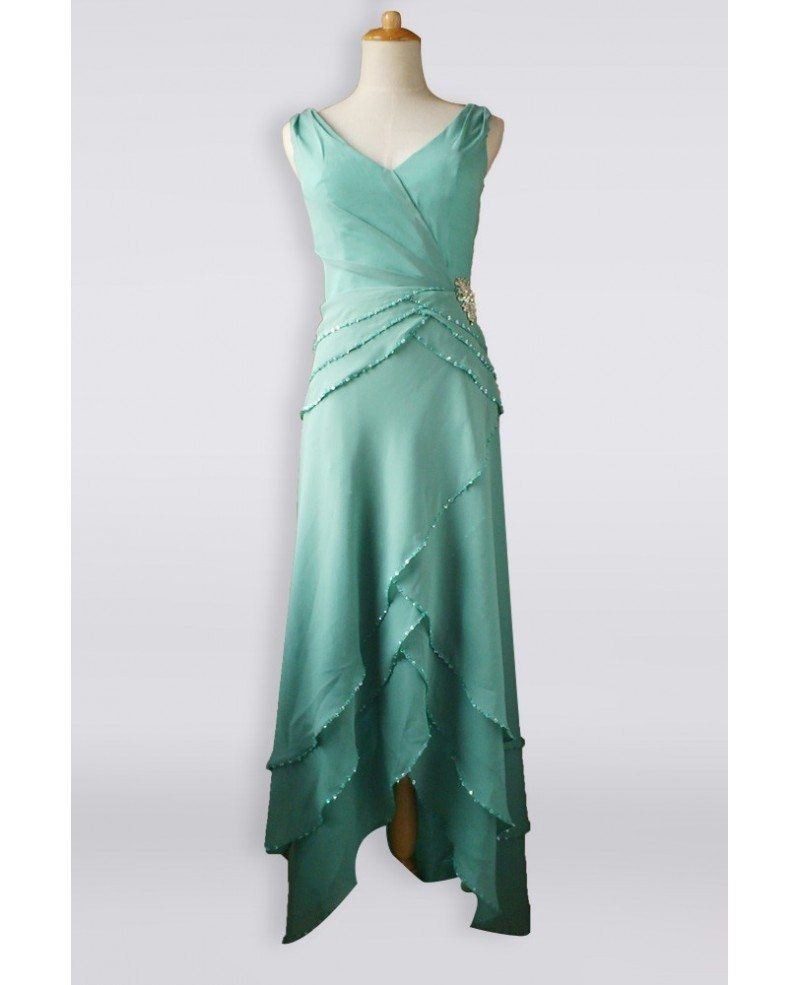 Classy Turquoise Sequined Criss Cross Chiffon Mother Bride Older ...